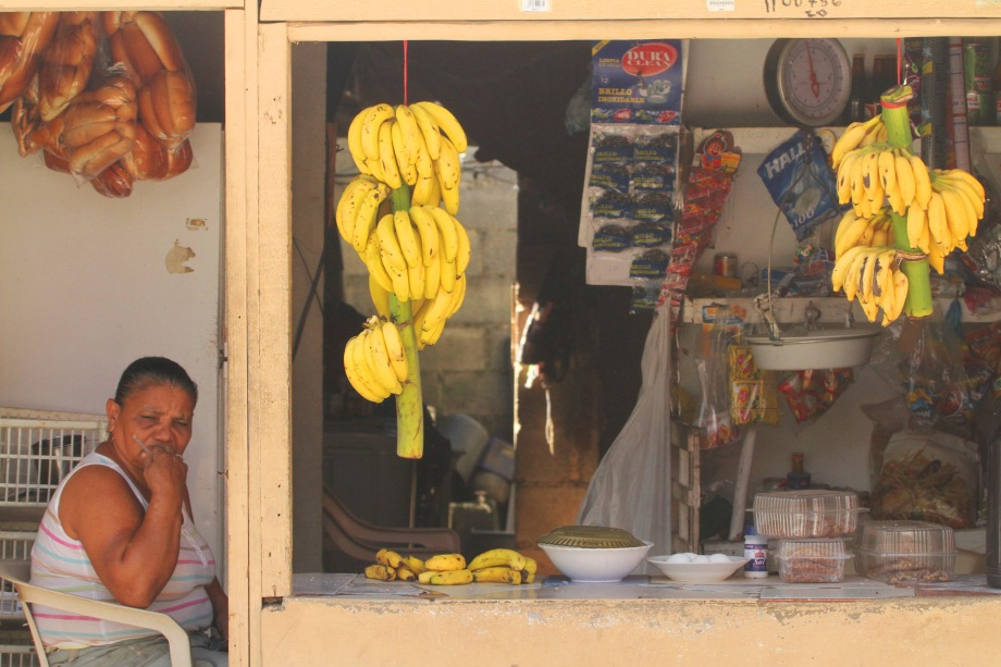 Shopkeeper and bananas